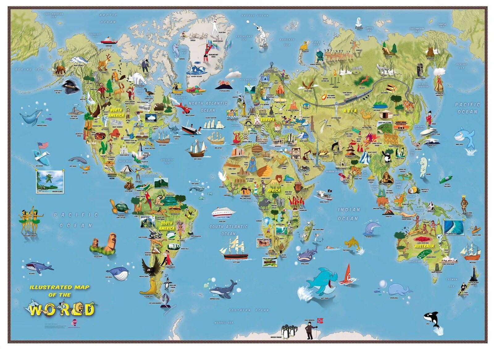 Kids Cartoon World Map Poster Print Art Map, Size & Finish Options