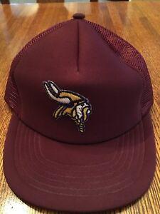 Image is loading Vintage-Rare-Minnesota-Vikings-NFL-Football-Logo-Maroon- 678c2f74734