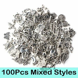 Wholesale-100pcs-vrac-Tibetan-Silver-MIX-Charms-Pendentifs-Bijoux-Making-A-faire-soi-meme-BU