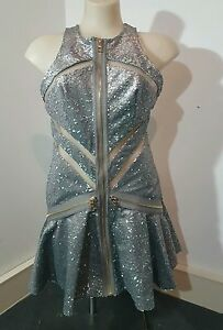 Genuine-Three-Floor-Dress-Sequin-Silver-Grey-Peplum-Nude-Gold-size-8-4-XS