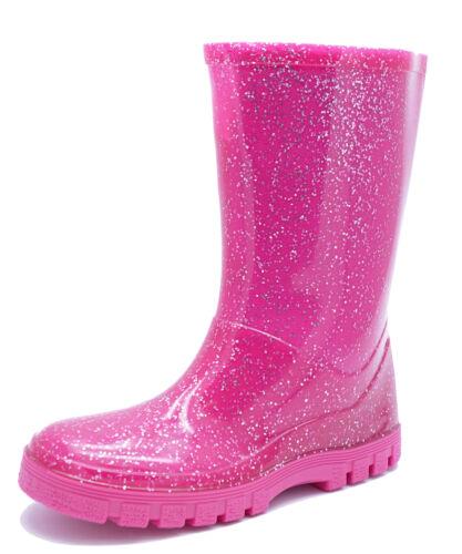 GIRLS KIDS PINK WELLIES WATERPROOF RAIN SPLASH WELLY BOOTS SHOES SIZES 4-12