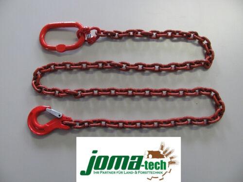 5,0 Meter Rückekette rund 10mm mit Ovalem Aufhänglied und Schlupfhaken mit Falle