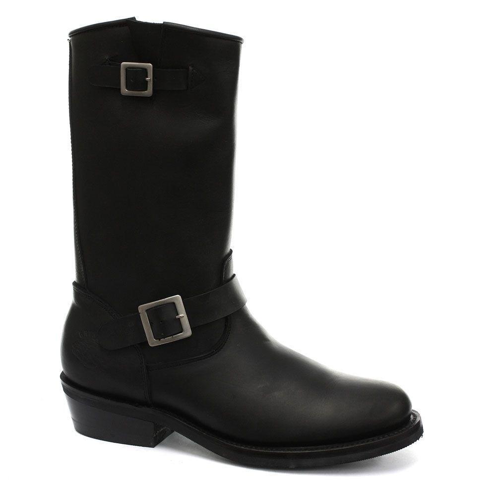 Grinders New Rebel Bike Ladies Biker Western Boot  Black Leather Cowboy Boots