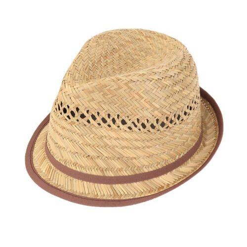Da Uomo Donna Corto Orlo del cappello di paglia BORSALINO con fascia marrone sottile e tagliare 3 Taglie