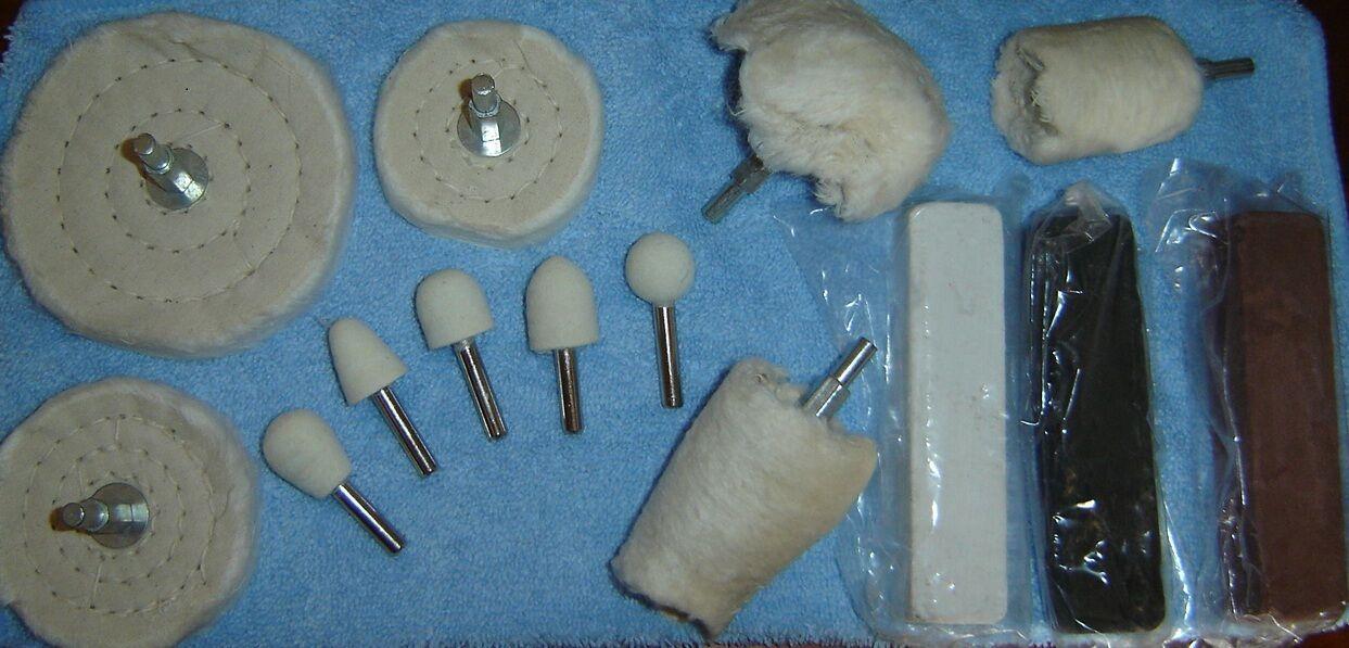 Aluminum Polishing Kit - 15 pc (wheels, buffs, bobs, compounds, cloth)