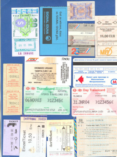 14 Different Transportation Tickets Set