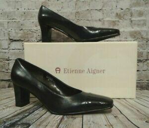 NEW-ETIENNE-AIGNER-VENI-NAVY-BLUE-Leather-Mid-Heel-Classic-Pump-Shoes-7-5-M