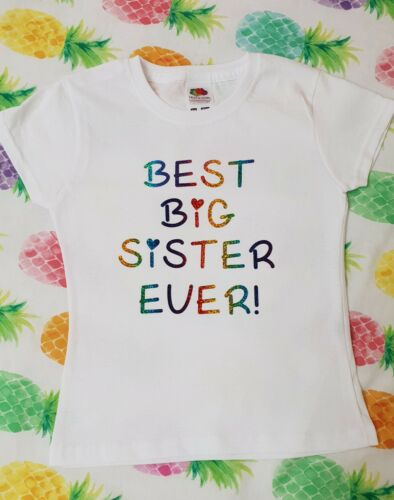 Best Big Sister Ever Girls T-shirt Top Outfit Gender Reveal party GIFT Rainbow