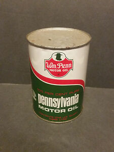 Vintage-Original-Wm-Penn-Motor-Oil-Can-Quart-Metal-Cleveland-Ohio-1-Qt-FULL