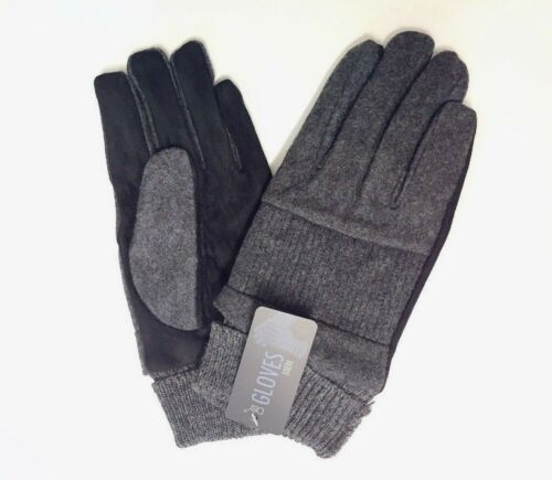 Ribbed Men/'s Wool Gloves w// Leather Like Gray Size S//M//Large Thinsulate NEW Warm