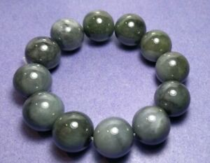 18mm Bead Smoke Grey Type A Jade Jadeite Bracelet With Certificate