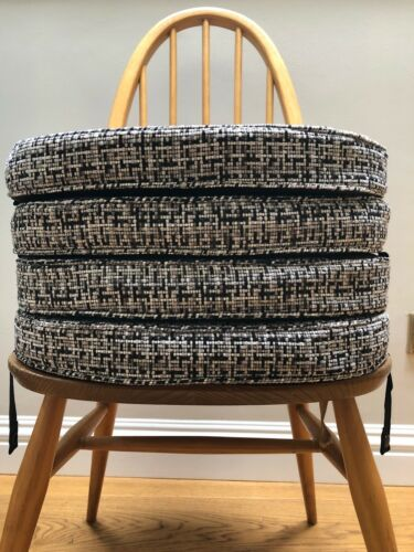 4 MyHome New Cushions For Ercol Chairs With Straps And Press Studs Black/Grey