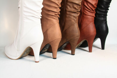 Femmes Talon Compensé Plat Talon Haut Dentelle Fermeture Éclair Mi-mollet Genou haut Bottes Chaussures Taille 5-10