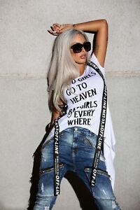 Mexton-By-Alina-Damen-Top-Kurzarm-T-Shirt-Longshirt-mit-Guertel-Bluse-weiss-XS-M