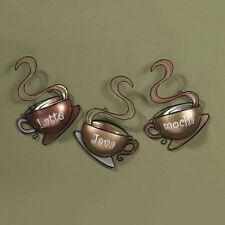 Coffee House Cup Mugs Set of 3 Latte Java Mocha Metal Wall Art Home Decor New US