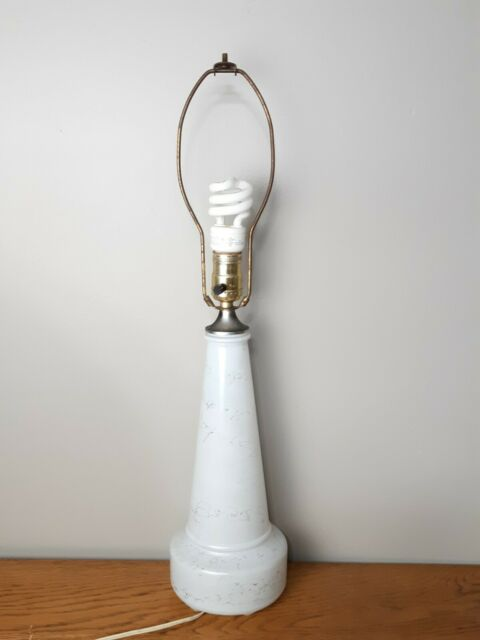 Vintage Glass Table Lamp Painted White With Gold Drizzle Parts Refurbishing Ebay