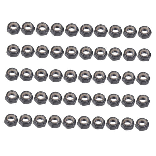 50 Pack Lot Independent Axle Nuts Black Fit for Skateboard Longboard Truck