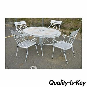 Image Is Loading Vintage Hollywood Regency Wrought Iron Dining Set Chairs