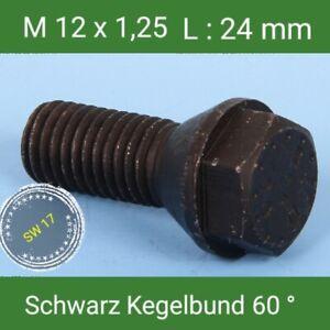 ST Radschrauben schwarz M12 x 1,5 x 60 Kegel 10-Stück