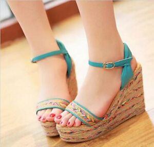 Sandalias de mujer azul colorido cuerda cuña 7.5 cm elegante y cómodo 9229