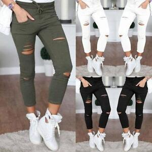 Women-039-s-New-Skinny-Ripped-Pants-High-Waist-Stretch-Jeans-Slim-Pencil-Trousers-50