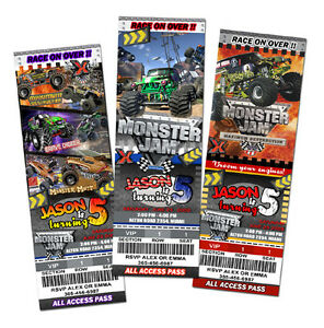 monster jam truck birthday party invitation invite 1st grave digger