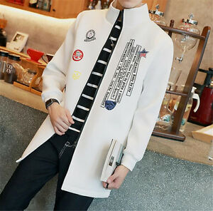2018-Stylish-Men-039-s-Coat-Spring-Outwear-Slim-Printing-Trench-coat-Long-Jacket