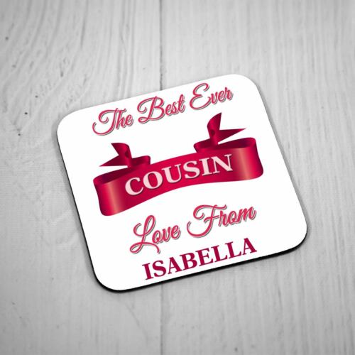 Personalised Square Coaster Best Ever Cousin