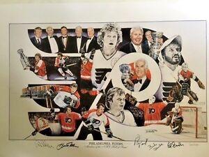 Philadelphia-Flyers-NHL-HOF-Litho-Ed-Snider-Keith-Allen-Parent-Clarke-Barber