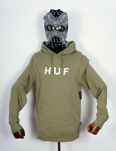 Huf-Worldwide-Hooded-Hood-Sweatshirt-Hoodie-Pullover-OG-Logo-PO-Dried-Herb-in-M
