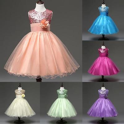 Kids Pageant Wedding Birthday Party Princess Dress Bridesmaid Girls Tutu Dress
