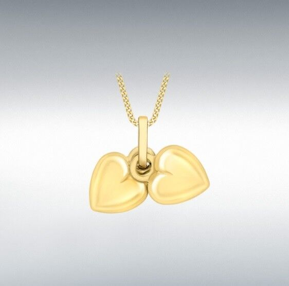 9ct Yellow Gold Double Heart Charm / Pendant (No chain)
