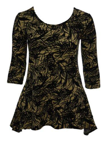 Ladies Size 12-22 New 2 Point Hem Stretch Tunic Top Black Taupe Bnwt
