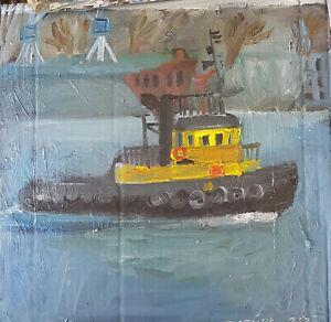 ORIGINAL-Ol-auf-Karton-Schlepper-Schiff-tug-boat-Bild-Painting