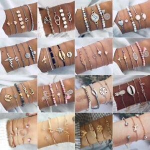 Women-Fashion-Jewelry-Bracelet-Cuff-Opening-Gold-Chain-Bangle-Wristband-Set
