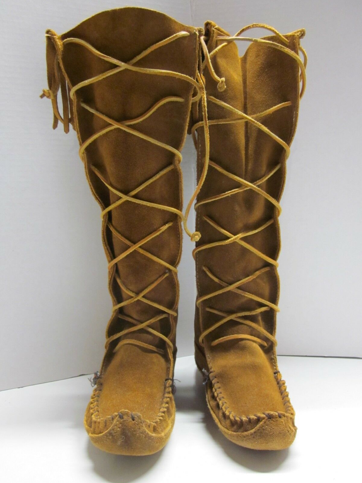 Vtg MINNETONKA 1322 Tall Lace Up Moccasin Boot shoes Fringe Brown Suede Leather 7