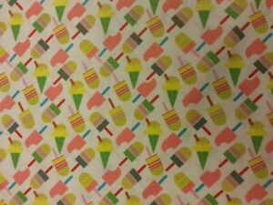 ICE CREAM DREAMS FABRIC BY METRE 100% COTTON MATERIAL ICE LOLLY LOLLIPOP GIFT