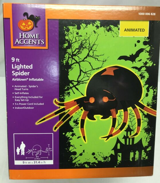 9' Gemmy Airblown Animated Head Turning Spider Halloween Inflatable Yard Prop