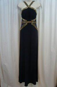 a5b21e8c97aa Betsy & Adam Dress Sz 2 Navy Blue Gold Beaded Cutout Jersey Long ...