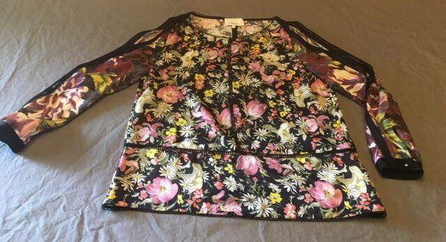 3.1 Phillip Lim black floral print silk Cold Shoulder blouse top size 6