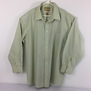 Roundtree-amp-Yorke-Gold-Label-Men-039-s-Shirt-Sz-18-Green-Non-Iron-EZ-Wash-Button-Up