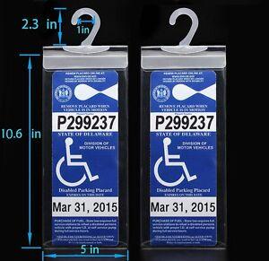 2x-Handicap-Parking-Permit-Placard-Protector-Cover-Hanger-Car-Holder-Hang-Sleeve