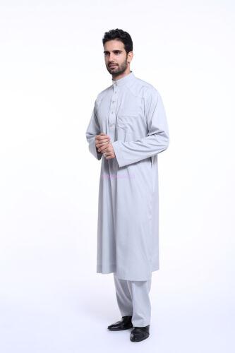 Men Muslim Dress Saudi Style Robe Islamic Kaftan Abaya Arab Dubai Clothing Hot D