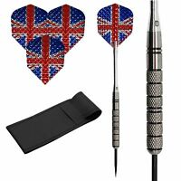 24g Tungsten Dart Set Dimplex Union Jack Standard Ireland Flights,nylon Shafts