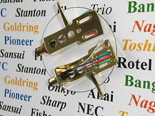 2 Gold plated Cartridge headshells fits Denon DP 1100, DP 1200, DP 1250, DP 1700