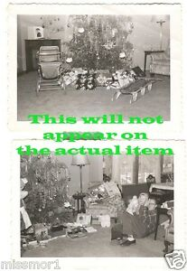 Christmas-Tree-gifts-doll-sleigh-lot-of-2-1950s-vintage-Photographs-carriage