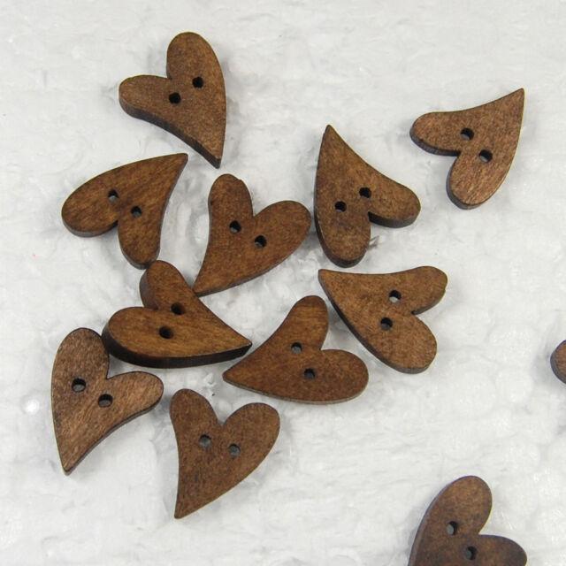 50/100pcs WOOD Heart Flatback Wooden Buttons Sewing Craft Scrapbooking New
