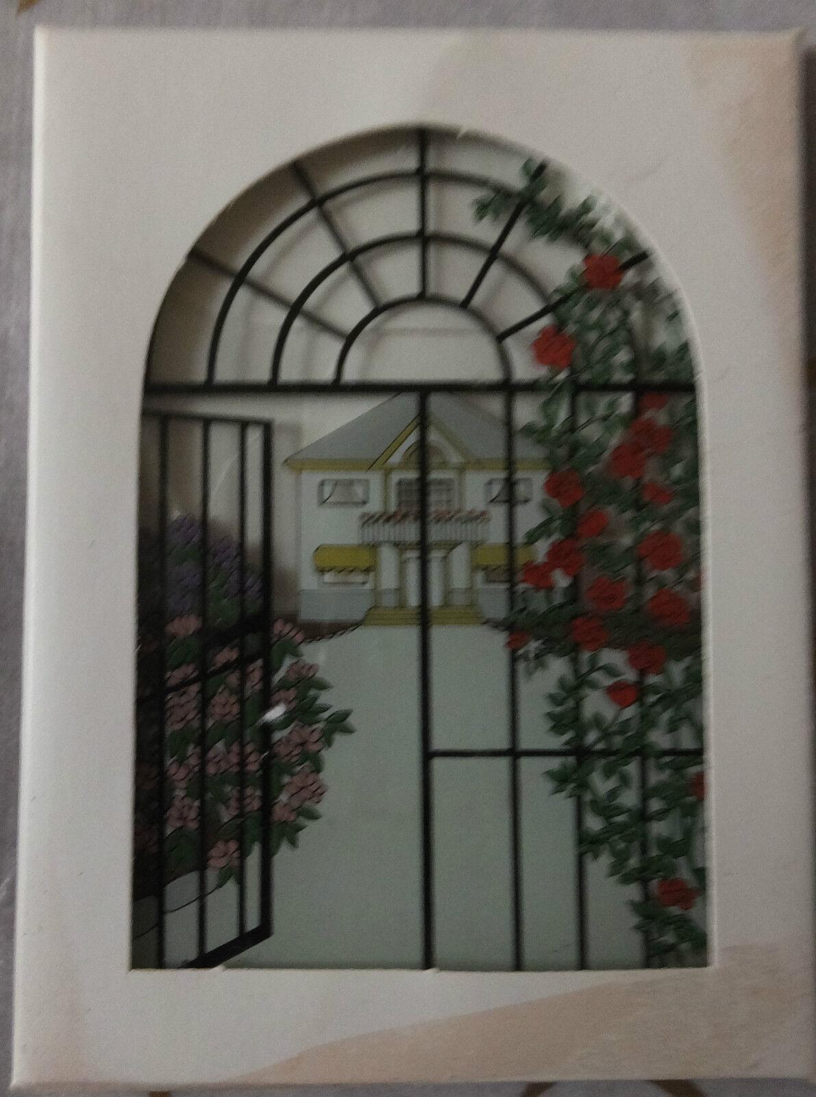 1970's Robert Jacobson Designed - Glass Suncatcher - County House & Garden Scene