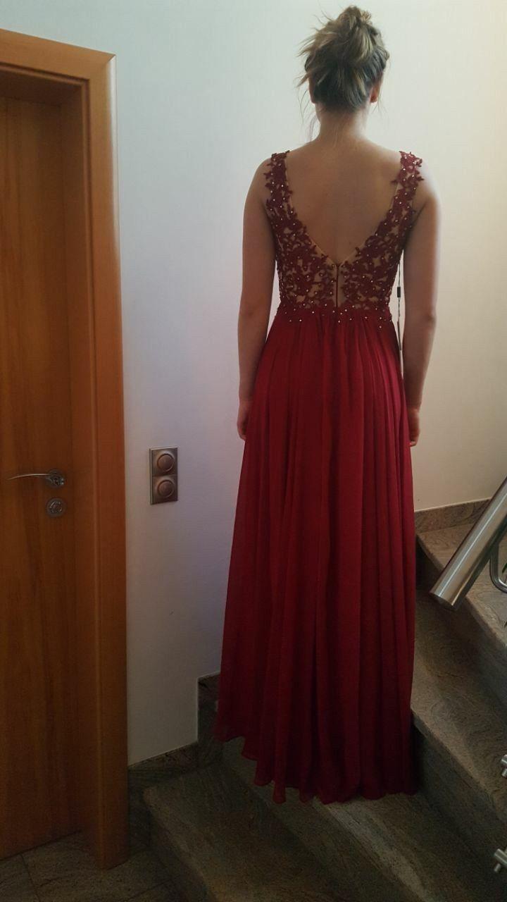 Abendkleid fürs Abi lang, nicht getragen in rot