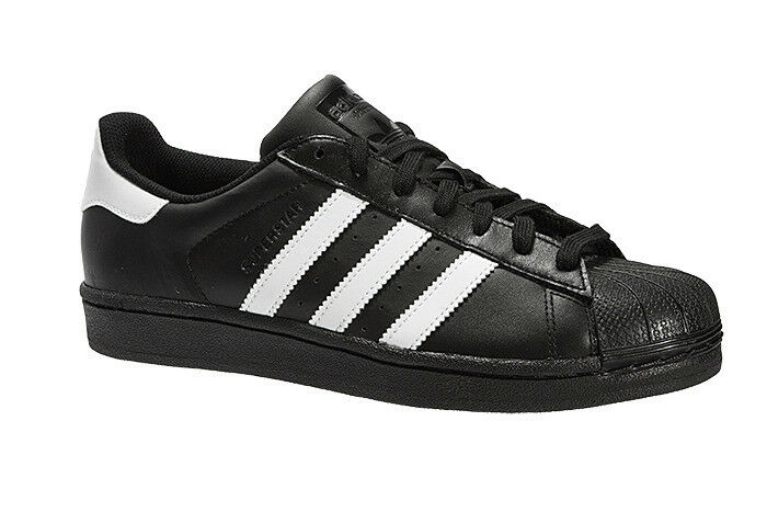 Adidas Superstars de negro cuero blanco Trainer 12